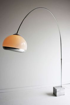Harvey Guzzini; Acrylic, Chromed Steel and Marble Floor Lamp for Laurel, 1970s.