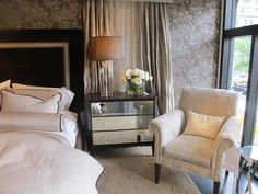 Ethan Allen - love the mirrored side table & headboard