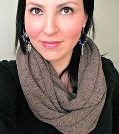Chunky Knit Infinity Scarf Marled Brown Cozy by FeathersandFancy, $36.00
