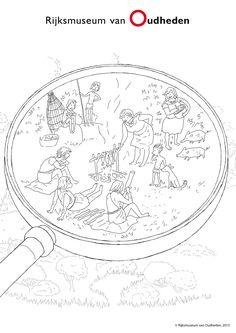 Een leuke kleurplaat over leven in de prehistorie. Klik op de afbeelding om deze kleurplaat en anderen te downloaden!