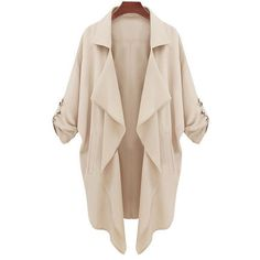 SheIn(sheinside) Beige Long Sleeve Casual Loose Pockets Coat featuring polyvore fashion clothing outerwear coats jackets tops cardigans apricot long sleeve coat beige coat pink coat short coat