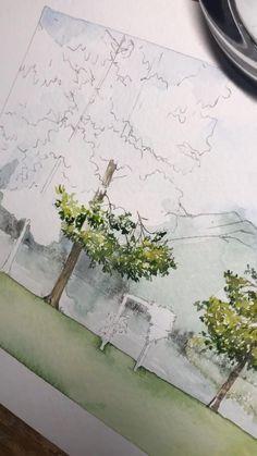 Tree Watercolor Painting, Watercolor Architecture, Watercolor Art Lessons, Watercolor Painting Techniques, Watercolor Landscape Paintings, Watercolor Drawing, Watercolor Illustration, Watercolor Video, Watercolour Tutorials