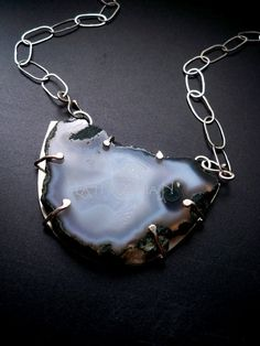 Natural agate slab statement necklace - sterling silver neck chain- OOAK - Gemstone jewelery by Lamazonian (SOLD)