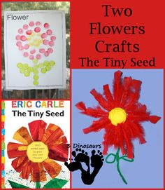 Two Flower Crafts – The Tiny Seed -  Dot Marker Flower Stained Glass Window and Multiple Texture Flower - 3Dinosaurs.com