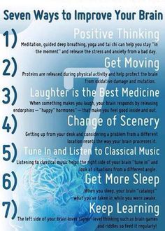 We expect so much from our bodies so let us take better care of it. Below are some ways that you can improve and preserve your brain functioning. The healthier your brain and body are the greater chance you have against disease and ill health. Healthy Brain, Brain Health, Mental Health, Brain Nutrition, Healthy Mind, Stress Yoga, Stress And Anxiety, Brain Facts, Brain Science