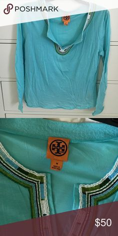 Tory Burch Top  Great turquoise color with white green and blue beads details on collar. Excellent summer accessory Tory Burch Tops Tunics