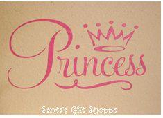 Vinyl Princess Wall Decal plus Tiara  by santasgiftshoppe on Etsy