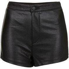 TOPSHOP PU High Waist Shorts ($56) ❤ liked on Polyvore