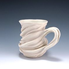 White Organic Carved Sculptural  Porcelain Mug 2 by jtceramics