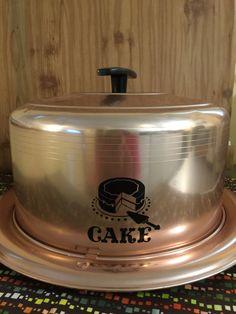 Vintage Cake Carrier Storage Tin   Retro Kitchen Cake Server   Copper Tone…