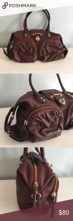 Botkier Maroon Handbag w/ Pockets & Gold Hardware Burgundy Botkier Handbag with Two Front Pockets and Gold Hardware.  Excellent condition. Gold clasp closure Two exterior zippered pockets Two open interior pockets One interior zippered pocket Gold chain in interior to hold keys Gold feet on bottom to prevent scuffing Fully functioning gold zipper Botkier Bags