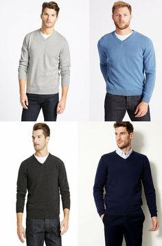 EX Marks /& Spencer M/&S Mens V neck Long Sleeve Jumper Sweater Top S M L XL 2XL
