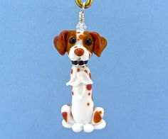 Brittany Spaniel Ornament or Pendant - Lampwork Glass Bead SRA by SUZOOM on Etsy