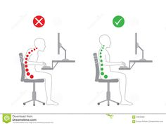Correct Posture In Sitting Working Stock Vector - Illustration of muscles, bone: 64845952 How To Sit Properly, How To Get Rid, Psoas Muscle, Muscle Spasms, Back Posture Corrector, Spine Health, Photography Backdrop Stand, Diastasis Recti, Neck And Back Pain