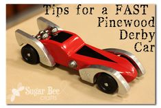 Tips for a FAST Pinewood Derby Car  Want the awesomest most fastest Pinewood Derby Car?? It's that time of year, so I thought I'd let Trevor do a guest post about tips and tricks to make a fast car, using the car from last year....take it away babe....