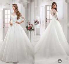 2015 ALine Wedding Dresses Sheer Neck Tulle with Applique 3/4 Long Sleeve Tulle with Applique, $132.37 | DHgate.com