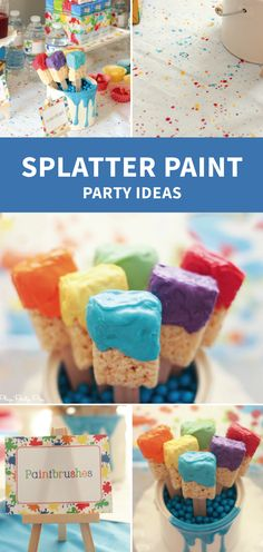How fun are these Splatter Paint Rice Krispies Treats®? Alongwith art party ideas you have all the inspiration you need to throw such a fun and colorful birthday party for your little one.