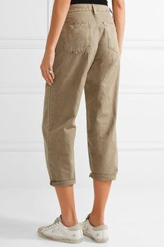Current/Elliott - The Pleated Barrel Linen And Cotton-blend Wide-leg Pants - Army green -