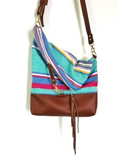 57cc48402ed7 Items similar to Brown Leather and Pastel Serape Foldover Crossbody Purse  on Etsy