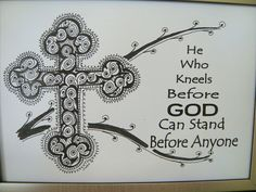 AA Al-anon NA Recovery Gift 5X7 Framed  Orthodox Cross Art Quote - He Who Kneels Before God Can Stand Before Anyone - ChangedAttitudes