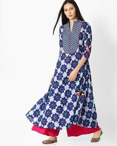 Buy Blue Jaipur Kurti Floral Print A-line Kurta with Mandarin Collar | AJIO