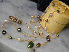 Biwa Pearls chain necklace peridot bracelet white quartz ring agate