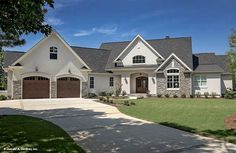 Plan of the week over 2500 sq ft - The Hartwell #1221. Stone and siding create a striking facade to this house plan, and an arched portico mirrors the graceful curves of exterior windows. http://www.dongardner.com/house-plan/1221/the-hartwell. #POTW #Craftsman #OneStory