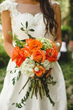 Orange and Greenery Bouquet | photography by http://spindlephotography.com