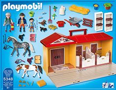 Playmobil 5348 Country Pony Farm Take Along Horse Stable: Amazon.co.uk: Toys & Games
