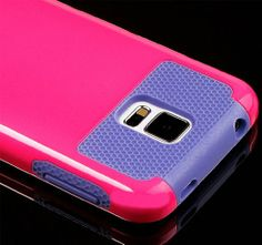 myLife (TM) Hot Pink and Lavender Purple - Free Flex Series (2 Layer Neo Hybrid) Slim Armor Case for the NEW Galaxy S5 (5G) Smartphone by Sa...