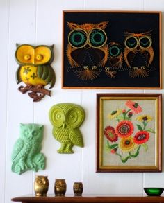 Vintage Owl decor.  I have the turquoise owl in the original colors.  I thought about painting it but decided not too.  I am glad I didn't.