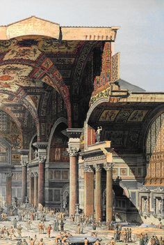 The Baths of Diocletian in Rome - reimagined. The Baths are on the Viminal, the smallest of the Seven hills of Rome, just inside the Agger of the Servian Wall. They served as a bath for the people residing in the Viminal, Quirinal, and Esquiline quarters of the city.The Baths were commissioned by Maximian in honor of co-Emperor Diocletian in 298, the same year he returned from Africa.