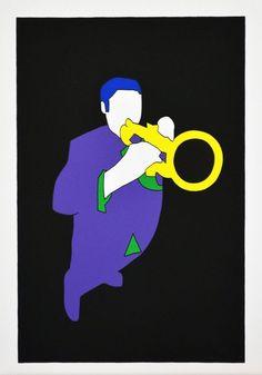 LODOLA MARCO - JAZZISTA - Serigrafia a colori - FORMATO FOGLIO - 35 x 50 cm