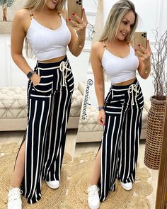 """Mania De Vestir no Instagram: """"olhem o que chegouuu, calça pantalona de malha 😍😍 Já no site e nas lojas! Look estará disponível na loja de FRANCISCO BELTRÃO, inaugura…"""" Cute Comfy Outfits, Classy Outfits, Chic Outfits, Trendy Outfits, Stylish Girls Photos, Latest African Fashion Dresses, Curvy Girl Fashion, Teen Fashion Outfits, Ideias Fashion"""