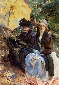 Miss Wedgewood and Miss Sargent Sketching.John Singer Sargent