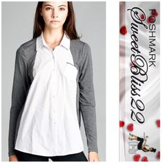 Now Available  Grey and White Contrast Top Simply adorable top! Pair it with jeans, or leggings! Semi-loose fit, long sleeve, collared, raglan button down shirt. Contrast sleeves. Contrast piping on chest pocket. The lightweight woven fabric is soft, stretches very well and is not sheer. The contrast fabric of this shirt is perfect for any occasion!  95%RAYON 5%SPANDEX CONTRAST: 100% COTTON  this will sell out! Comes in S,M,L ⭐️️S measures 38 inches the bust⭐️M measures 40 inches in the bust…