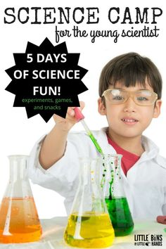 Summer Science Camp for the Young Scientist Week Long Experiments. Our week of summer science camp includes 5 full days of STEM and science experiments, activities, science themed snacks and games, and more cool science ideas for the young scientist. Our summer science camp is perfect for preschool, kindergarten and 1st grade kids and with simple tweets for early elementary age kids too!