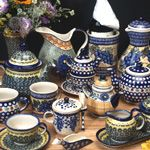 Look at this variety of Polish Pottery: tea cups, tea pots, pitchers, creamers & sugar bowls. I love Polish Pottery and collect 4 different patterns. from www.twinspolishpottery.com