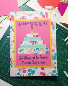 Custom Birthday Card Birthday Cake Card Card for by PaperTechie, $7.50 - This patterned paper layer cake is perfect for any birthday! This was a specific custom order for a Sister-in-laws special birthday. This birthday cake is made of 5 different layers, adorned with sticker candles and cute quote.  Colors can be customized for the recipient and the number of candles for the birthday being celebrated can be added to the card via Etsy or this can be a fun DIY birthday card project.