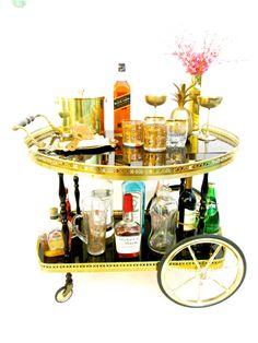 Vintage Italian Bar Cart    Aldo Tura Style Gold & Black Cocktail Trolley    Oversized Wheels Bottle Caddy Brass Gallery by…