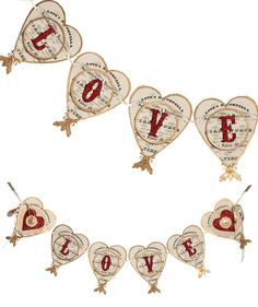 Shabby Chic Valentine Heart Banner LOVE