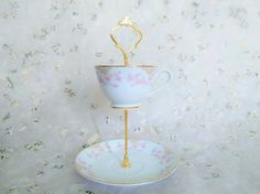 Pink Flower Blossoms Gold Rim Japanese Vintage 2 Tier - Tea Cup Cake Stand Jewelry Holder Trinket Plate Upcycled Vintage Tea Sets A collection of vintage plates have been used to make these beautiful mini cake stands. - Great for a tea party of small delights - precious to storing