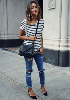 LOVE this outfit. Absolutely want this exact shirt. The size spacing of the stripes is perfect.