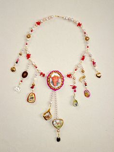 Joke Schole  Necklace: Your task, Mrs Lambfawn , is to tell them about the Art of Peace 2007  Porcelain, pearls, coral, crystal, bone, several semi precious stones, plastic, gold leaf, horn, nacre, flock