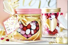 Gold Heart Mason Jar