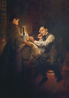 Rizal treating his mother (1960 painting by Romeo Enriquez)