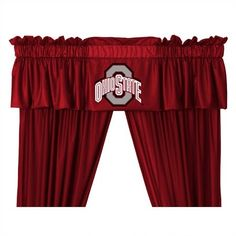 Features:  -Ohio State Buckeyes theme.  -Screen-printed team graphic.  -Made of polyester.  -Machine washable.  -Made in USA.  -One piece curtain valance.  Product Type: -Curtain valance.  Design: -Ru
