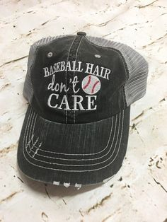 BASE BALL HAIR Don t Care - Distressed Trucker Hat  BaseBall 3e10ec9da32c