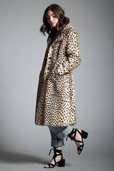 d1212ae6f6cc vintage 60s leopard faux fur coat winter coat MEDIUM LARGE M L Black Satin