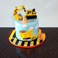 Construction cake by The Custom Piece of Cake You are in the right place about Birthday Cake with name Here we offer you the most beautiful pictures about the Birthday Cake baby you are looking for. Digger Birthday Cake, Digger Cake, Truck Birthday Cakes, First Birthday Cakes, Kids Construction Cake, Construction Birthday Parties, Fete Laurent, Toddler Birthday Cakes, Birthday Ideas